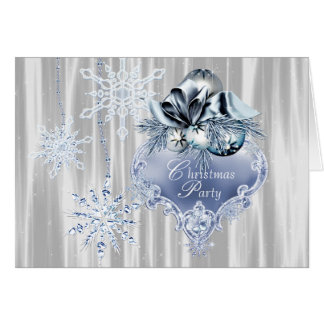 Blue Snowflake Christmas Party Card
