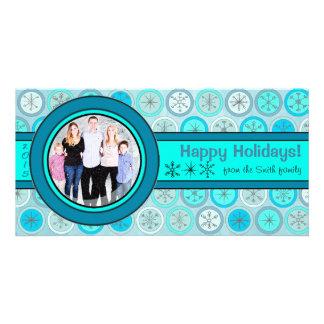 Blue Snowflake Circles Holiday Photo Card