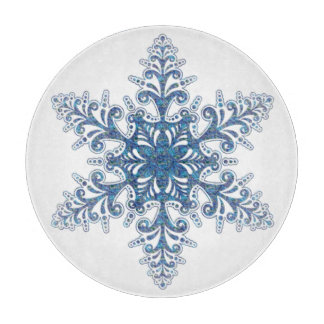 Blue Snowflake Cutting Board
