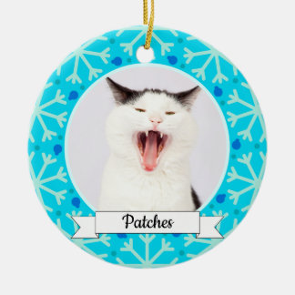 Blue Snowflake Frame Customizable Kitty Ceramic Ornament