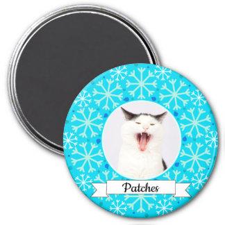 Blue Snowflake Frame Customizable Kitty Magnet