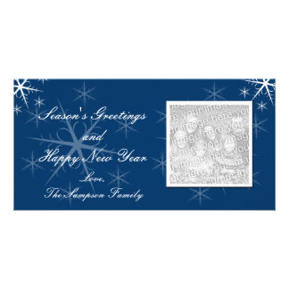 Blue Snowflake Holiday Photo Cards