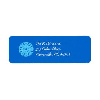 Blue Snowflake Holiday Return Address Label