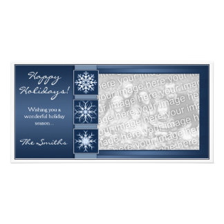 Blue Snowflake Holidays Personalized Photo Card