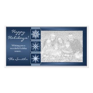 Blue Snowflake Holidays Personalized Photo Card