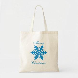 Blue Snowflake Merry Christmas Tote Bag Bag