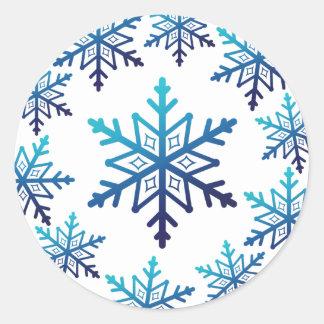 Blue Snowflake Noel Christmas Classic Round Sticker