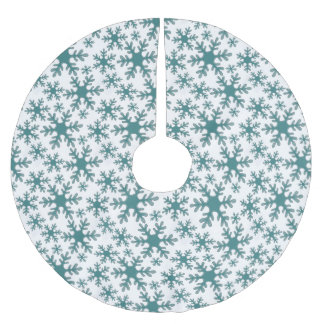 Blue Snowflake Pattern on a White background Brushed Polyester Tree Skirt