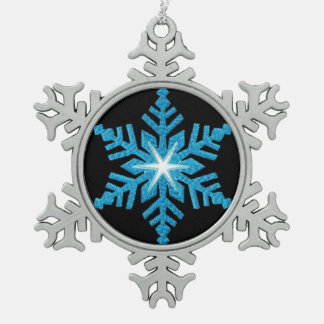 Blue Snowflake Pewter Snowflake Ornament