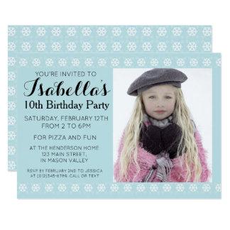 Blue Snowflake Photo Birthday Invitation