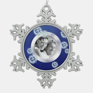 Blue Snowflake Photo Template Christmas Snowflake Pewter Christmas Ornament