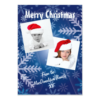 Blue snowflake photo template Xmas holiday Card