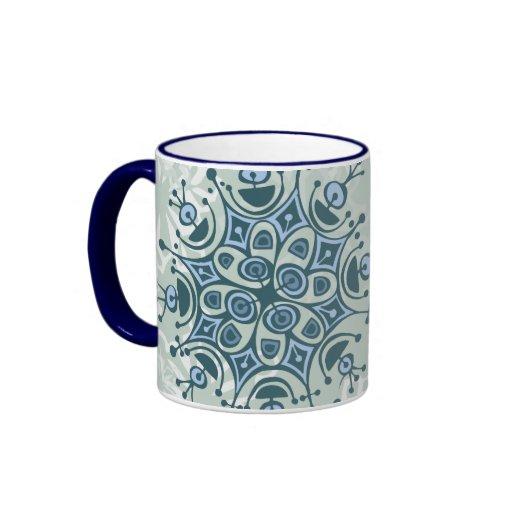 Blue Snowflake Ringer Mug