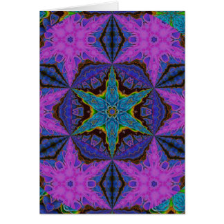 Blue Snowflake Starburst Kaleidoscopic Mandala Card