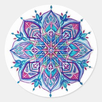 Blue Snowflake Stickers---Blue Star Design Classic Round Sticker
