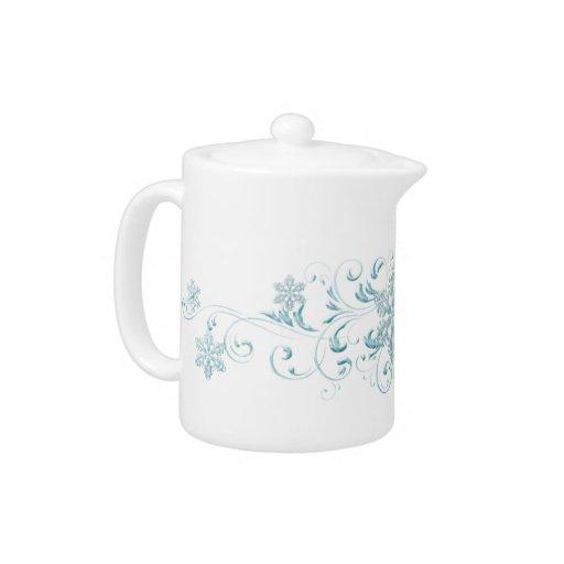 Blue Snowflake Teapot