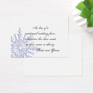 Blue Snowflake Winter Wedding Charity Favor Business Card