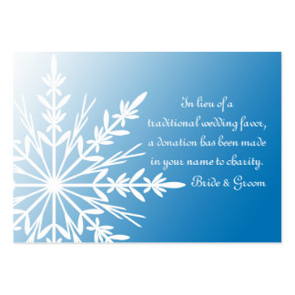 Blue Snowflake Winter Wedding Charity Favor Card Pack Of Chubby Business Cards