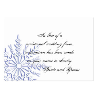 Blue Snowflake Winter Wedding Charity Favor Pack Of Chubby Business Cards