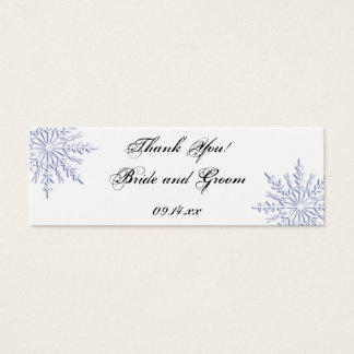 Blue Snowflake Winter Wedding Thank You Favor Tags Mini Business Card