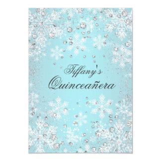 Blue Snowflake Winter Wonderland Quinceanera 13 Cm X 18 Cm Invitation Card