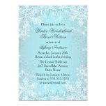 "Blue Snowflake Winter Wonderland Sweet 16 Invite 5"" X 7"" Invitation Card"