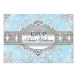 Blue Snowflake Winter Wonderland Sweet 16 RSVP 9 Cm X 13 Cm Invitation Card