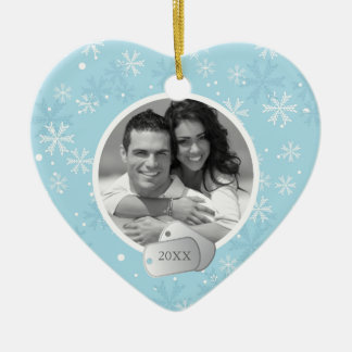 Blue Snowflakes and Dog Tags Photo Ceramic Heart Decoration