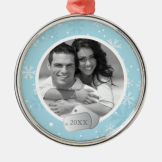 Blue Snowflakes and Dog Tags Photo Silver-Colored Round Decoration