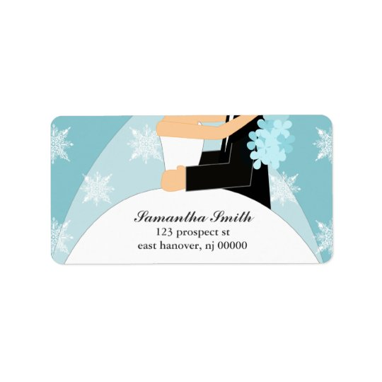 Blue Snowflakes Bride and Groom Address Label