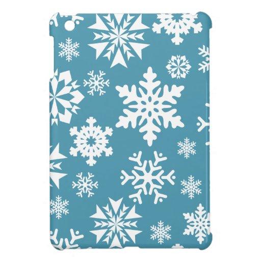 Blue Snowflakes Christmas Holiday Winter Pattern iPad Mini Cases