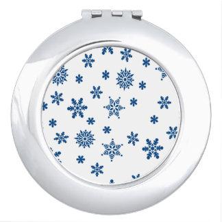 Blue Snowflakes Compact Mirror