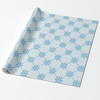 Blue Snowflakes Diagonal Square Pattern Wrapping Paper