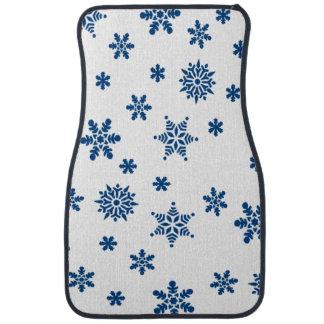 Blue Snowflakes Floor Mat