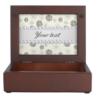 Blue Snowflakes Gold Stars Silver Diamonds Keepsake Box