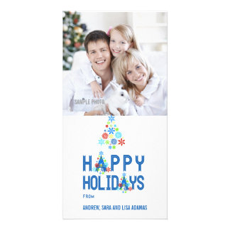BLUE SNOWFLAKES HAPPY HOLIDAYS PHOTO CARD
