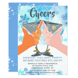Blue Snowflakes Holiday Cocktail Party Invitation