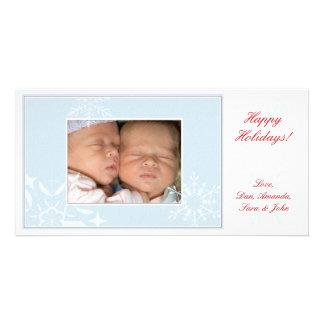 Blue Snowflakes Holiday Photo Card