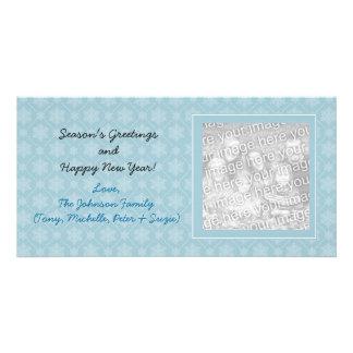 Blue Snowflakes Holiday Photo Cards