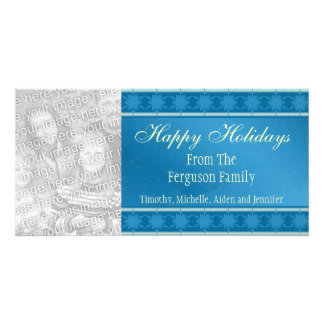 Blue Snowflakes Holiday Photocard Personalised Photo Card
