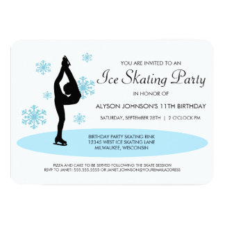Blue Snowflakes Ice Skating Party Invitation