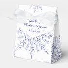 Blue Snowflakes on White Winter Wedding Favour Box
