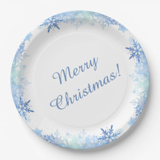 Blue snowflakes paper plate