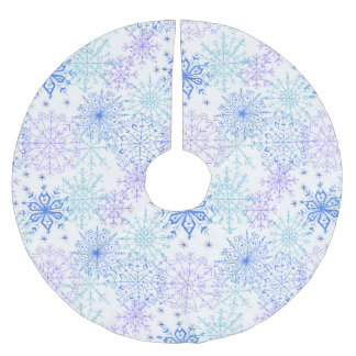 Blue Snowflakes Pattern - Christmas Tree Skirt