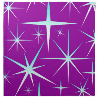 Blue snowflakes pattern on purple napkin