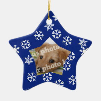 Blue Snowflakes Star Custom Photo Frame Ornament