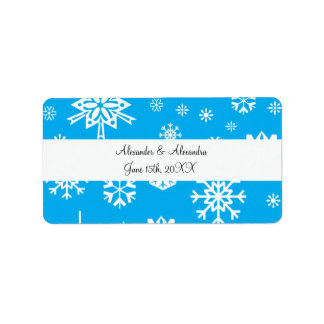 Blue snowflakes wedding favors address label