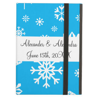 Blue snowflakes wedding favors case for iPad air