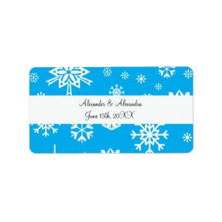 Blue snowflakes wedding favors address label