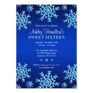 Blue Snowflakes Winter Wonderland Sweet 16 Card